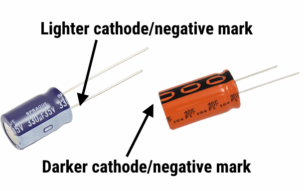 PTH radial polarized capacitor markings.